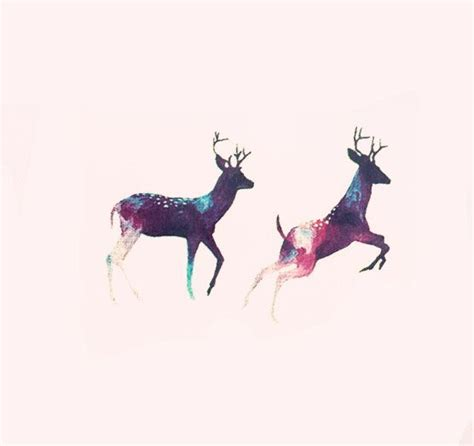 Galaxy Rainbow Deer 2pcs galaxy deer elk temporary by maomaocreation ink everything