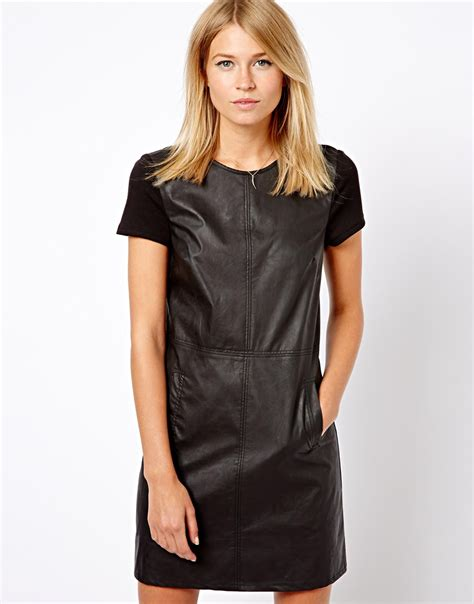 Dress Of The Day Black Ponte Shift Dress At Debenhams by Oasis Leather Look And Ponte Shift Dress In Black Lyst