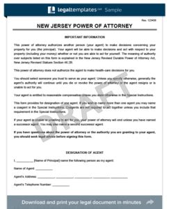 Free New Jersey Power Of Attorney Forms Pdf Word Downloads Legal Templates Power Of Attorney Template Nj