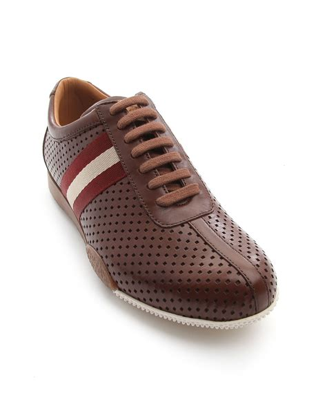 bally sneakers sale bally freenew brown perforated leather sneakers in brown