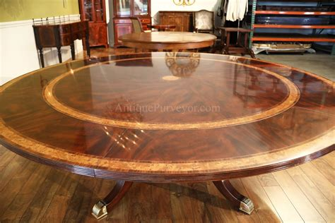 Large round mahogany dining room table with perimeter leaves optional storage ebay
