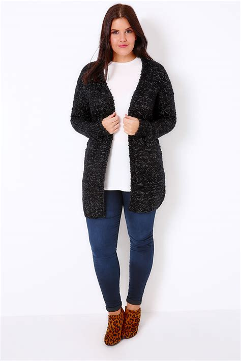 Chunky Cardigan black silver metallic chunky knit cardigan plus size 16