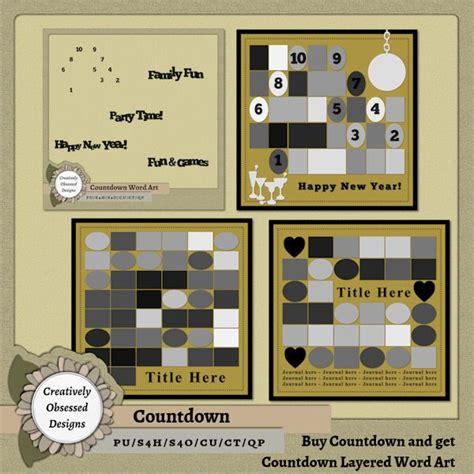 Purchase Countdown Digital Scrapbook Layout Templates Get Countdown Layered Word Art Template 12x12 Digital Scrapbook Templates