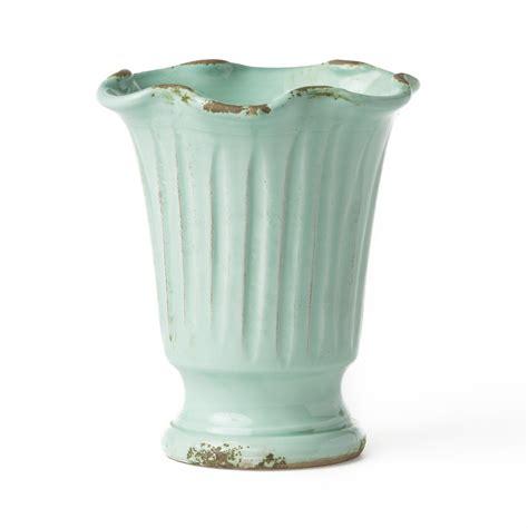 vietri rustic garden aqua ruffle vase