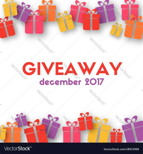 Gift Card Giveaway Photoshop Template by Giveaway Banner Template With Gift Boxes Vector Image