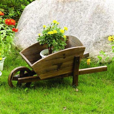 Wooden Garden Decor Wooden Decor Flower Pot Wheelbarrow Contemporary Outdoor Decor By Sears