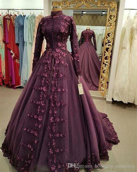 muslim prom dresses burgundy   lace appliques long