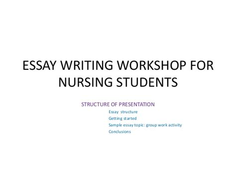 Essay Writing Workshops by Essay Writing Workshop For Nursing Students