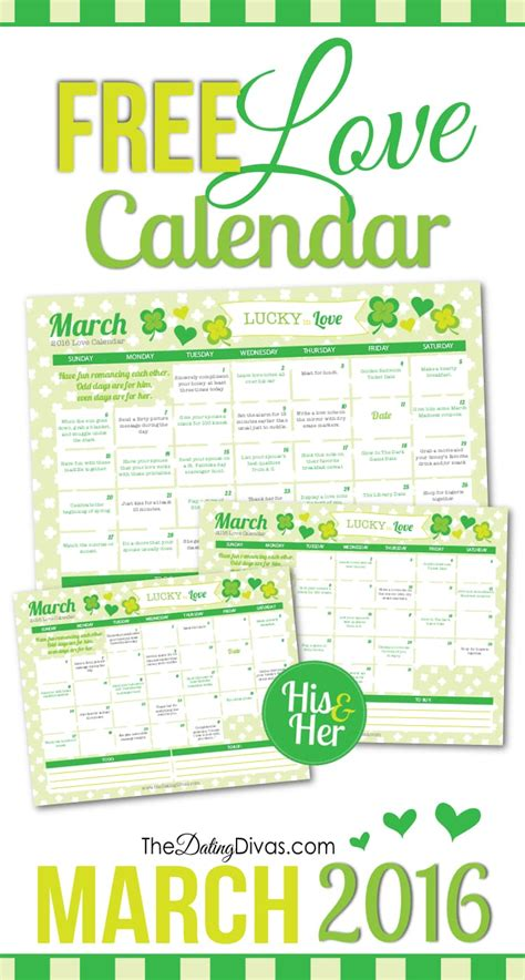 free printable your lovely 2016 calendars march 2106 love calendar