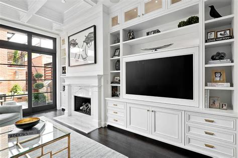white living room cabinets
