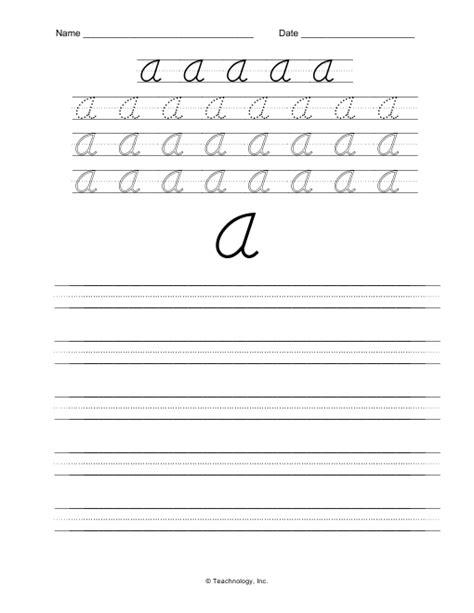 d nealian cursive letters upper case letter a practice