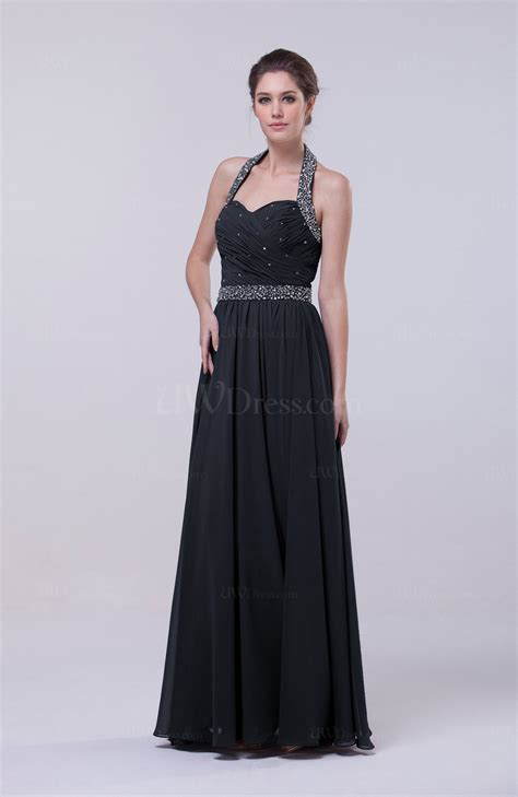 navy blue elegant column halter zip  chiffon prom