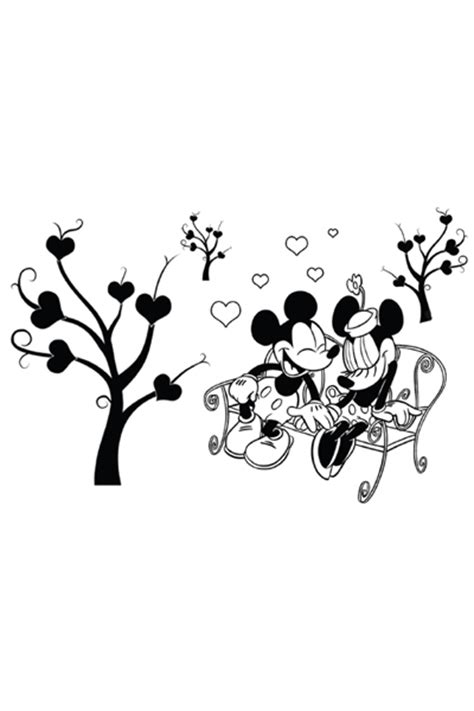 coloriage mickey et minnie sur un banc disney coloriages fr