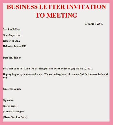 Invitation Letter With Exle Business Meeting Invitation Template Sanjonmotel