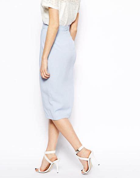draped tulip skirt asos drape tulip skirt in crepe in blue paleblue lyst