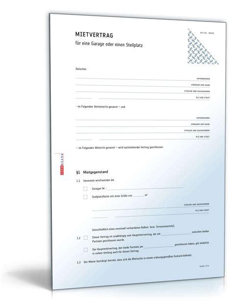 Angebot Pkw Muster Mietvertrag Garage Rechtssicheres Muster Zum