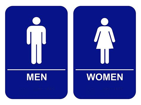 women s bathroom logo men women blue restroom sign set ada w braille