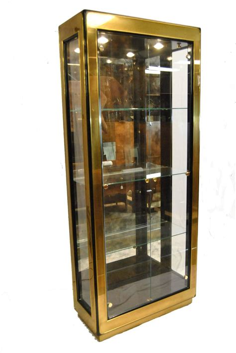 modern black lacquer and glass curio display cabinet by