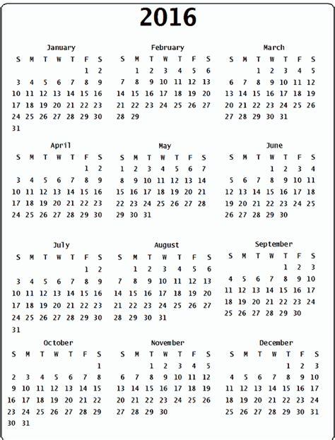 Large Printable Yearly Calendar 2016 | 2016 calendar free large images
