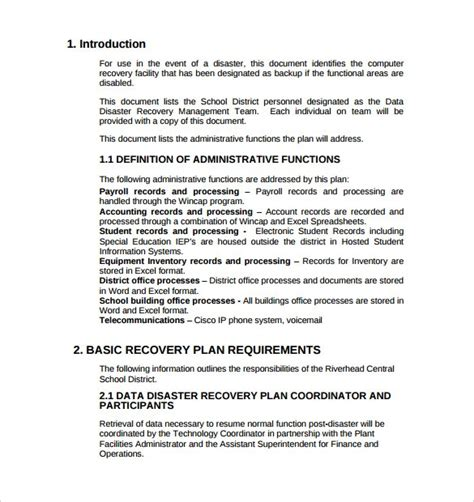 Disaster Recovery Plan Template Doliquid Free Disaster Recovery Plan Template