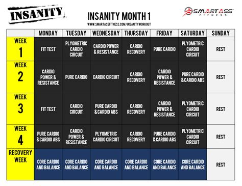 Insanity Workout Calendar Insanity Workout Calendar 187 Health And Fitness