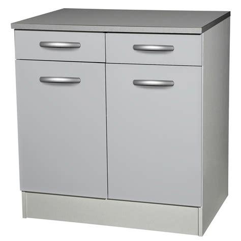 fa軋de meuble cuisine meuble de cuisine bas 2 portes 2 tiroirs gris aluminium