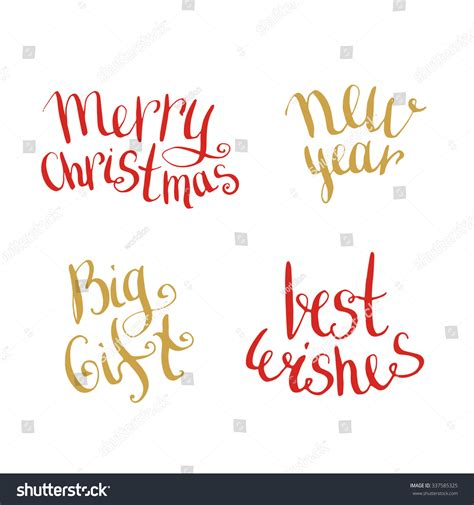 new year congratulation word new year merry handwritten lettering stock
