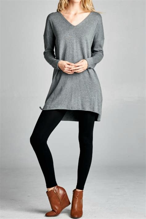 grey tunik grey tunic sweater fashion skirts