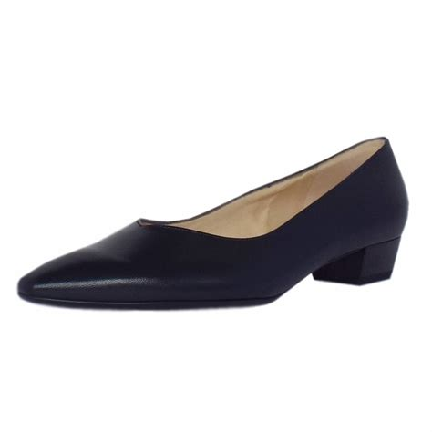 heeled shoes kaiser limba pointed toe low heel shoes in navy