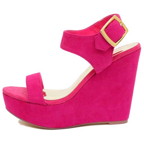 shoes size 3 dolcis pink fuchsia wedge platform sandals peep toe