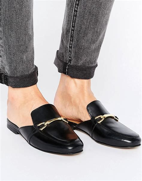 mule loafers asos leather mule loafers in black lyst
