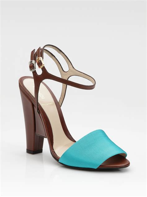 color sandals fendi color block sandals in blue turquoise lyst