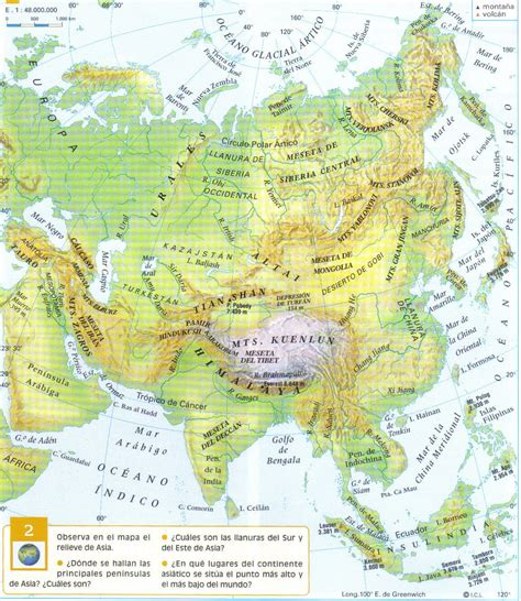 libro maps mapa fisico de asia con nombres