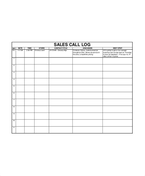 sales call template sales log template 5 free word documents download free premium templates