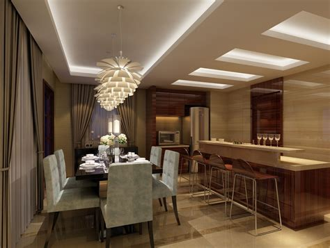 Dining Room Ceiling Lighting Creative Ceiling And Lighting Design For Dining Room And Kitchen 3d House Free 3d House