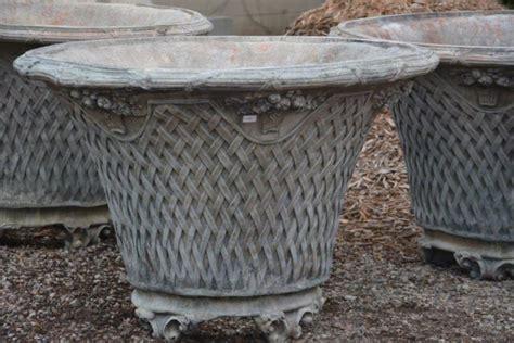 Concrete Basket Planter by Large Cast Concrete Basket Weave Planter