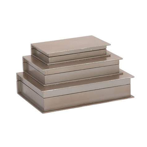 Silver Woods 3 attractive wood silver book box set of 3