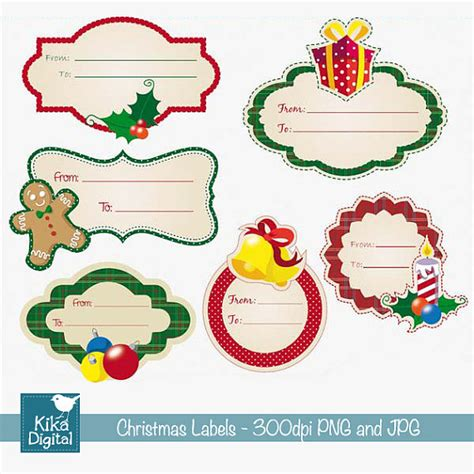 christmas labels digital clipart scrapbook tags card