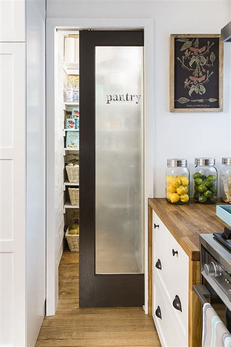 frosted glass door  pantry  white kitchen glass
