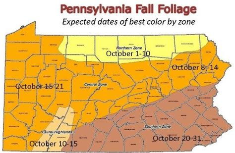 of pennsylvania colors pennsylvania fall foliage map bnhspine