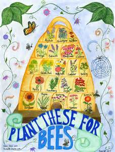 Bee skep poster for flowers to plant to attract bees available at