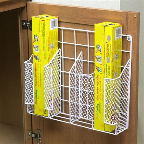 kitchen wrap organizer storage wall mount cabinet basket kitchen wrap organizer rack