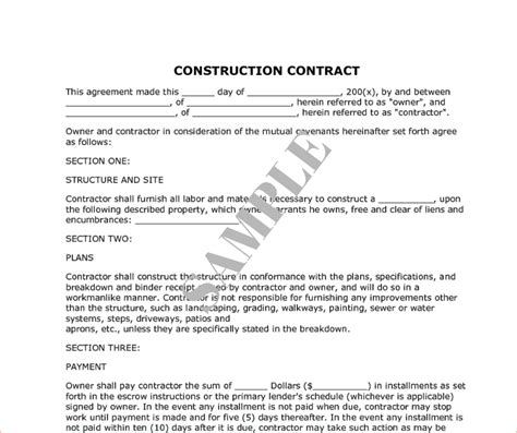 construction work contract template 8 construction contract slereport template document