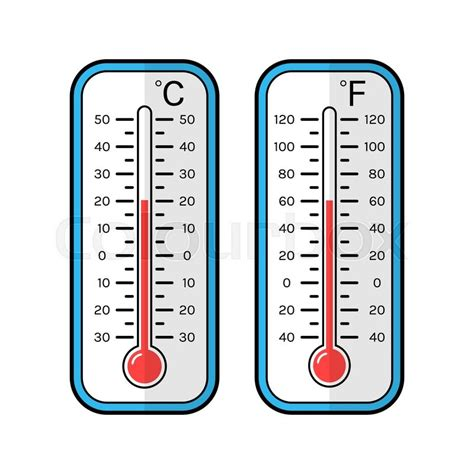 Termometer Fahrenheit colored flat icons of thermometers for weather scale celsius and fahrenheit stock vector