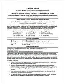 Resume Sles For Network Engineer For Fresher Network Engineer Resume Template 7 Free Sles Exles Psd Format Free