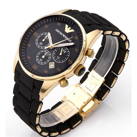 black armani chronograph with gold plated bezel