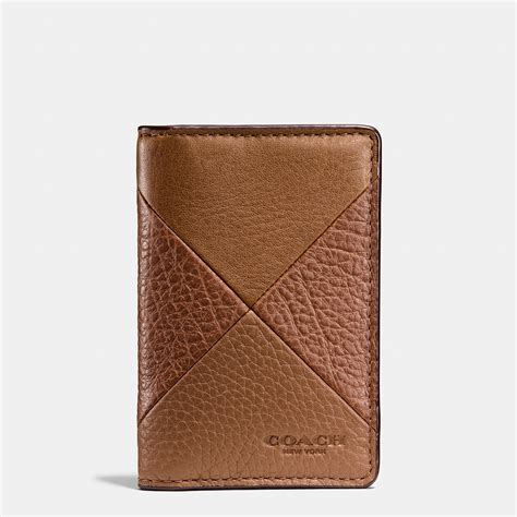 Patchwork Wallet - coach card wallet in patchwork leather in brown for