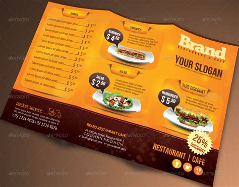 restaurant brochure templates trifold brochure restaurant cafe menu psd template by