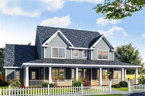 architectural home designs farmhouse design has three porches 4138wm architectural designs house plans