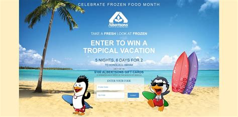 Albertsons Sweepstakes - albertsons fresh look at frozen sweepstakes enter your prize code at